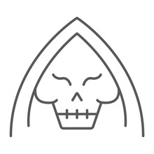 Death Thin Line Icon, Halloween And Horror, Reaper Sign, Vector Graphics, A Linear Pattern On A White Background.