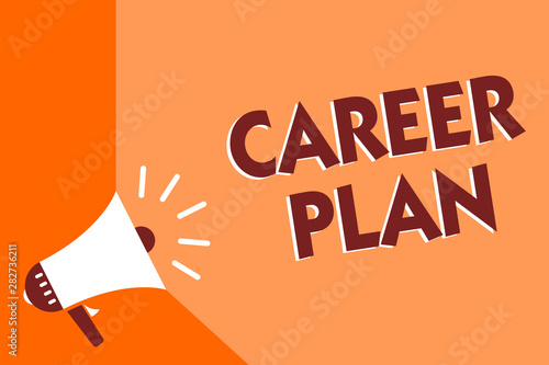 Conceptual Hand Writing Showing Career Plan Business Photo Text Ongoing Process Where You Explore Your Interests And Abilities Megaphone Loudspeaker Orange Background Important Message Speaking Buy This Stock Illustration And Explore