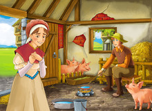 Cartoon Scene With Farmer Ranc...