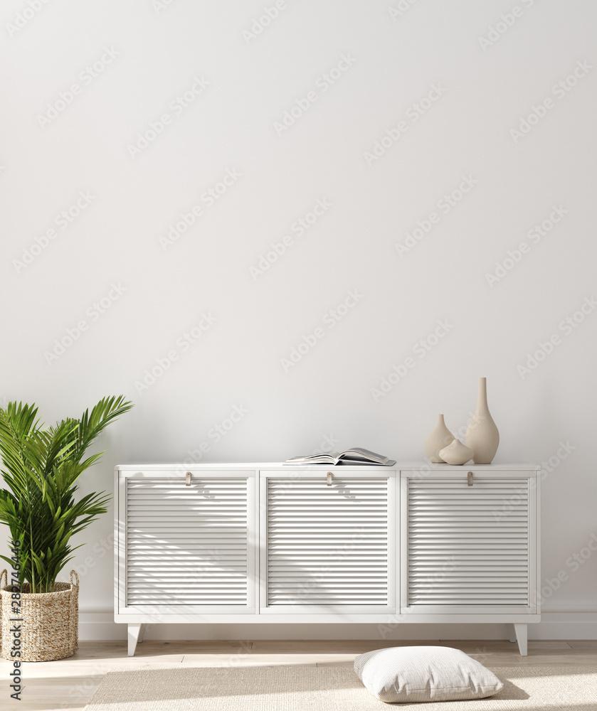 Fototapeta Modern home interior, wall mock up, 3d render