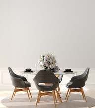 Modern Home Interior, Wall Mock Up, 3d Render