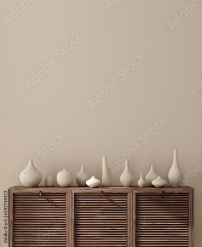 obraz PCV Vases on chest of drawers close up near wall, wall mock up, 3d render