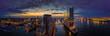 canvas print picture Hamburg Skyline im Sonnenaufgang mit Blick auf die Elbphilarmonie
