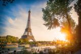 Fototapeta Fototapety z wieżą Eiffla - Sunset view of Eiffel tower and Seine river in Paris, France. Architecture and landmarks of Paris. Postcard of Paris