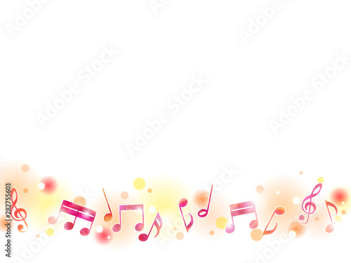Fotomural  秋色の音符のイラストの背景素材