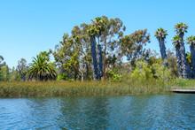 Big Reservoir Lake With Blue W...