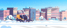 Snow Plow Truck Cleaning Urban...