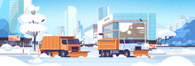 Snow Plow Trucks Cleaning Road...