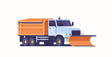 Spreading Salt On Highway Gritter Snow Plow Truck Icon Professional Cleaning Road Vehicle Winter Snow Removal Concept Flat Horizontal