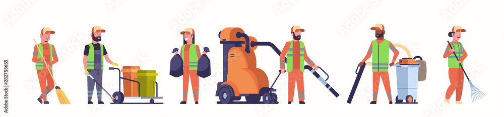 Fototapeta set janitors team gathering trash mix race cleaners using vacuum cleaner rack and broom streets cleaning service concepts collection white background full length horizontal