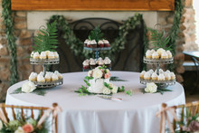 Small White Wedding Cake With Fresh Peonies On Top, Wedding Dessert Table