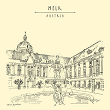 Melk, Lower Austria. Austria, Europe. Fountain At Prelate's Courtyard In Melk Benedictine Abbey. Hand Drawing. Travel Sketch. Vintage Touristic Postcard, Poster, Brochure, Book Illustration In Vector