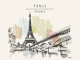 Fototapeta Fototapety Paryż - Eiffel Tower in Paris, France. Vintage hand drawn touristic postcard