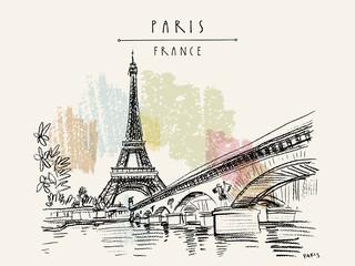 Eiffelov toranj u Parizu, Francuska. Vintage ručno izvučena turistička razglednica