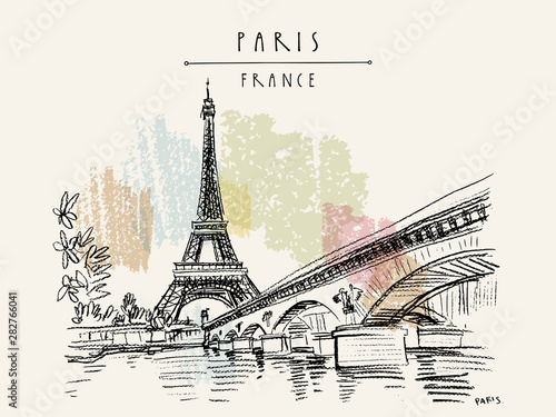 Obraz Eiffel Tower in Paris, France. Vintage hand drawn touristic postcard - fototapety do salonu