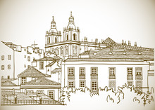 Roofs Of The Old Lisbon, Portugal. Urban Landscape In Hand Drawn Sketch Style. Line Art. Vector Illustration In Sepia