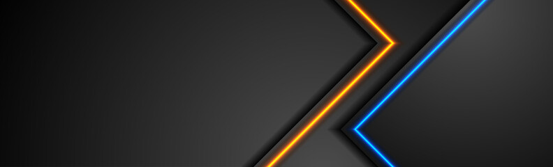 Black tech abstract banner design with blue and orange neon glowing light. Concept modern futuristic background. Vector illustration
