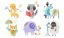Cute Animals Different Activities Set, Adorable Humanized Animals Characters Playing, Reading Book, Painting, Walking, Singing Illustration
