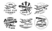 Flying Club Premium Logo Templates Set, Retro Aviation Aircraft Club Monochrome Badges Vector Illustration