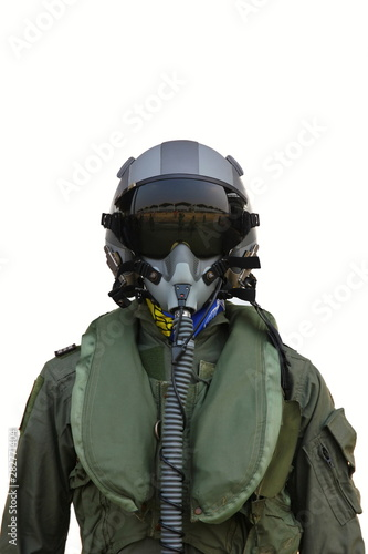 Photo  fighter pilot helmet and suit isolate on white background