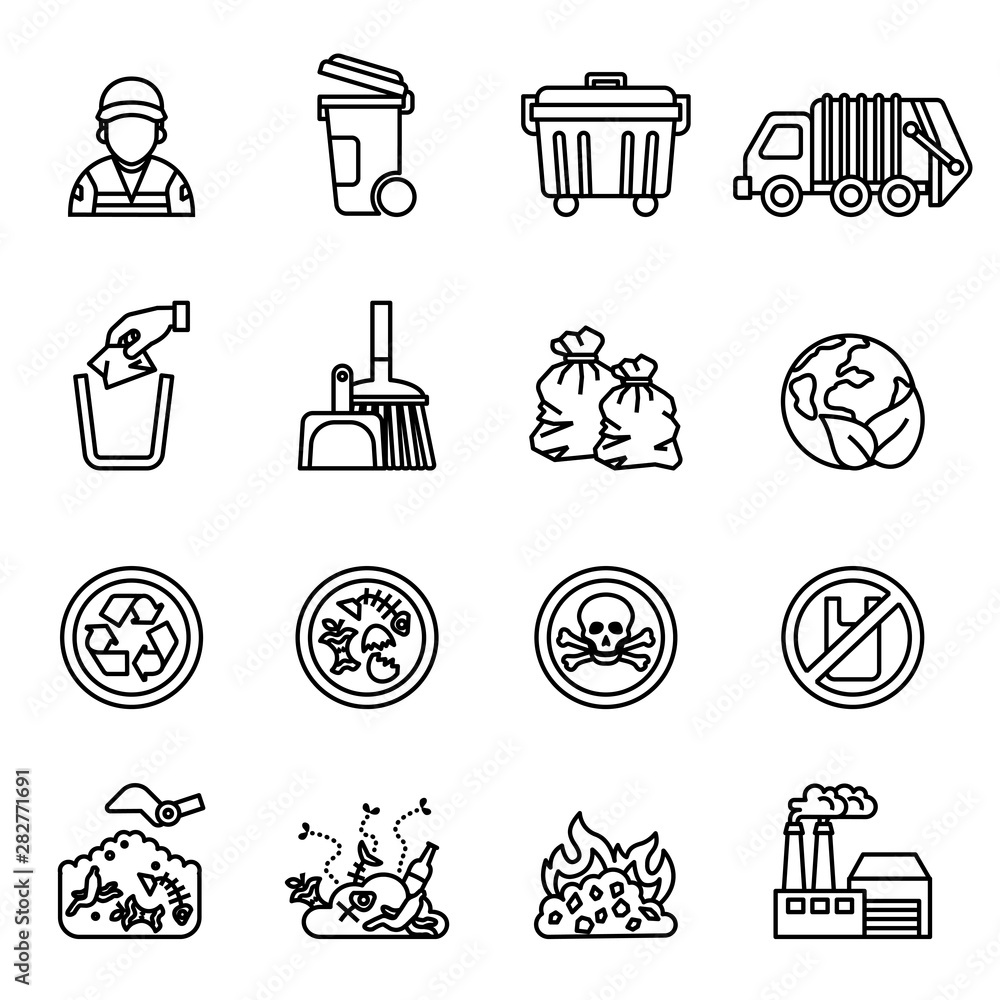 Fototapeta garbage; waste icon set on white background. Line Style stock vector.