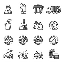 Garbage; Waste Icon Set On White Background. Line Style Stock Vector.