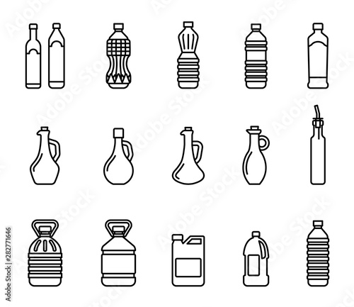 Fototapeta Vector icon set of pictures of different types of oil for cooking. Group bottles of oil for frying. obraz