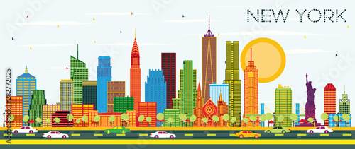 Canvas Prints New York TAXI New York USA City Skyline with Color Skyscrapers and Blue Sky. Vector Illustration. Business Travel and Tourism Concept with Modern Architecture. New York Cityscape with Landmarks.