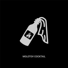 White Molotov Cocktail Vector Icon On Black Background. Modern Flat Molotov Cocktail From Weapons Concept Vector Sign Symbol Can Be Use For Web, Mobile And Logo.