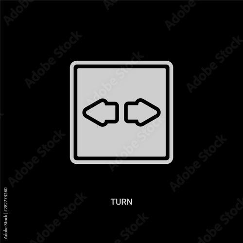 Photo white turn vector icon on black background