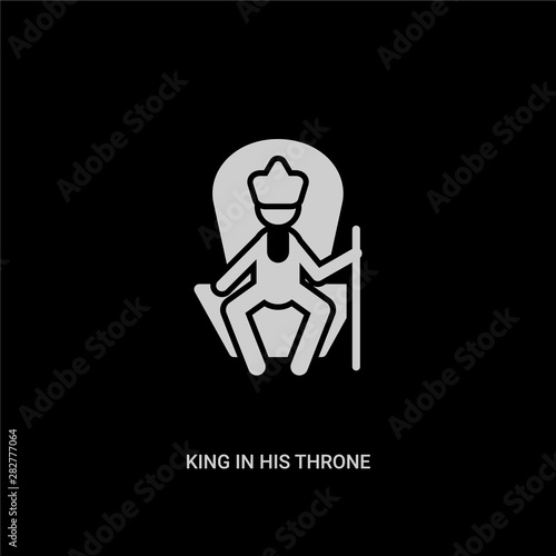 white king in his throne vector icon on black background Canvas Print