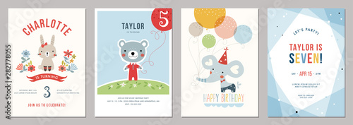Photo sur Toile Les Textures Kids birthday party invitations.
