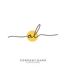 AL Initial Handwriting Logo Vector