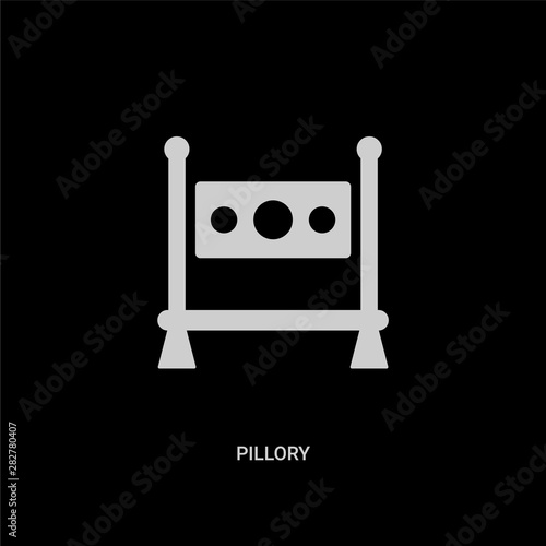 white pillory vector icon on black background Wallpaper Mural
