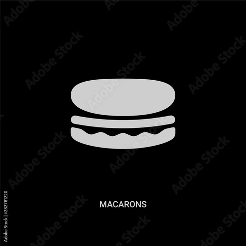 Spoed Foto op Canvas Macarons white macarons vector icon on black background. modern flat macarons from food concept vector sign symbol can be use for web, mobile and logo.
