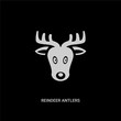 white reindeer antlers vector icon on black background. modern flat reindeer antlers from christmas concept vector sign symbol can be use for web, mobile and logo.