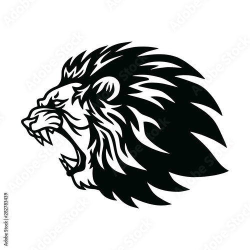 Fototapety, obrazy: Lion Roaring Head Logo Vector Icon Design