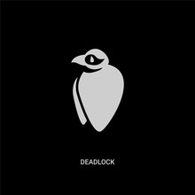 White Deadlock Vector Icon On Black Background. Modern Flat Deadlock From Animals Concept Vector Sign Symbol Can Be Use For Web, Mobile And Logo.