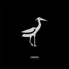White Heron Vector Icon On Black Background. Modern Flat Heron From Animals Concept Vector Sign Symbol Can Be Use For Web, Mobile And Logo.