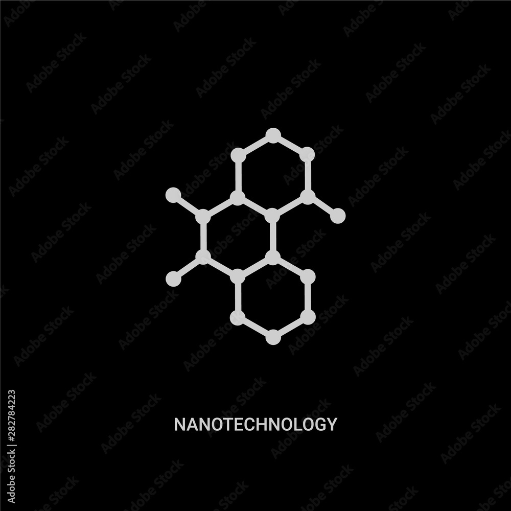 Fototapeta white nanotechnology vector icon on black background. modern flat nanotechnology from future technology concept vector sign symbol can be use for web, mobile and logo.