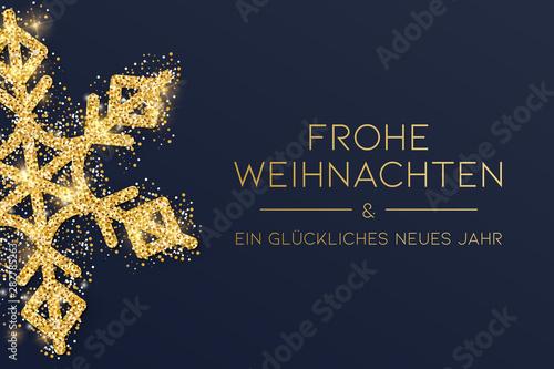 Obraz Weihnachtskarte gold mit Schneeflocke - fototapety do salonu