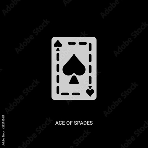 Fotografía  white ace of spades vector icon on black background