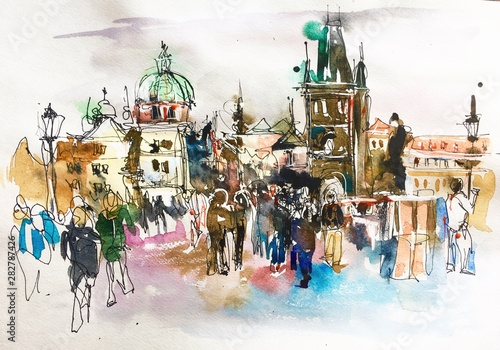Obraz landscape painting Prague Czech Republic top landscape to travel book or poster - fototapety do salonu