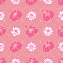 Peony And Hibiscus Flowers Sea...