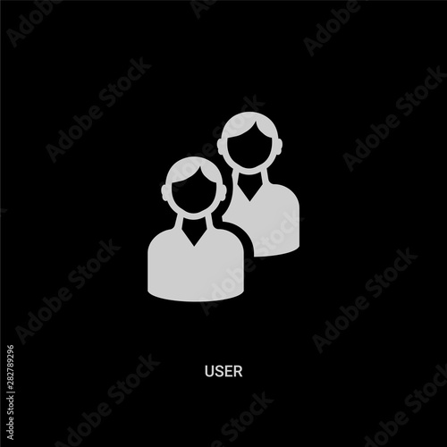Photo  white user vector icon on black background