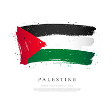 Flag Of Palestine. Brush Strokes Are Drawn By Hand. Independence Day.