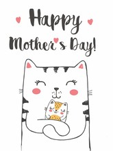 Vector Illustration Of Mother Cat With Of Cute Little Kitten, Hand Drawn Greeting Card With Lettering Happy Mother's Day, Cat Family, Mummy With Sleeping Baby