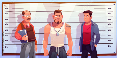 Police lineup, identity parade with various age, different constitution male suspects, standing in police station under two-way mirror cartoon vector illustration Tapéta, Fotótapéta