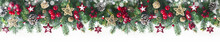 Festive Christmas Border, Isolated On White Background. Fir Green Branches Are Decorated With Gold Stars, Fir Cones And Red Berries, Banner Format.