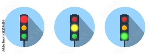 Cuadros en Lienzo  Set of Traffic Lights